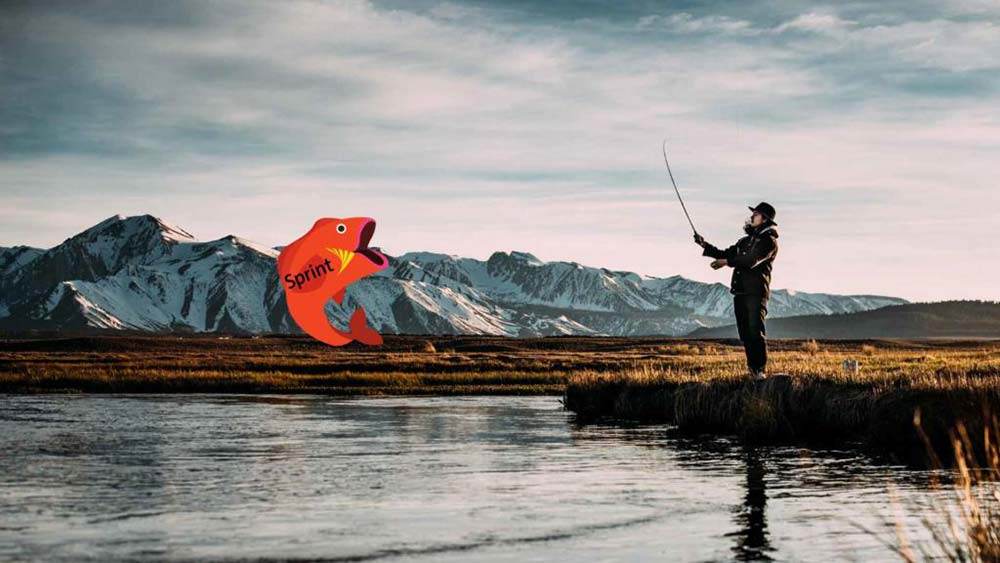 a man fishing a big fish, or big web design client, out of the lake